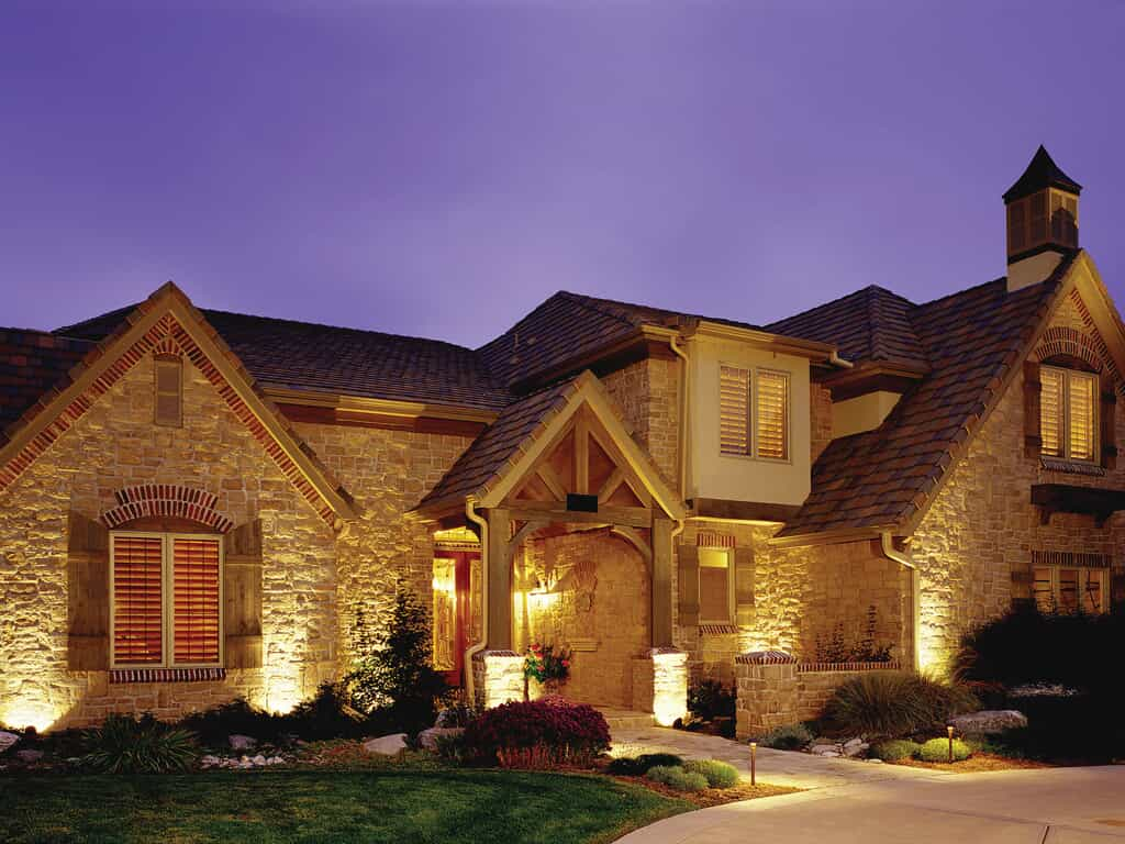 home with front entrance lighting